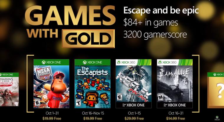 Jogos do Games with Gold de outubro são anunciados