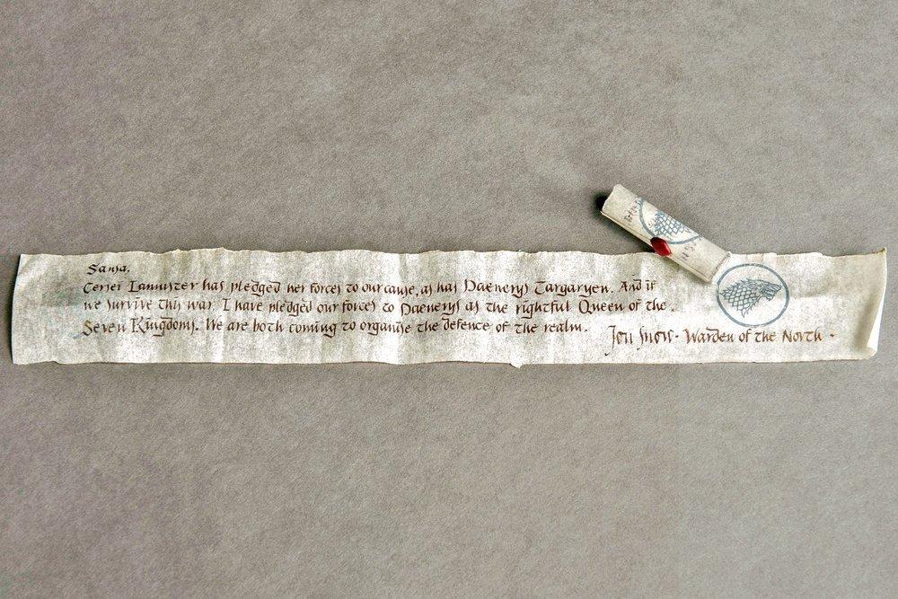 Carta de Jon para Sansa no último episódio da sétima temporada