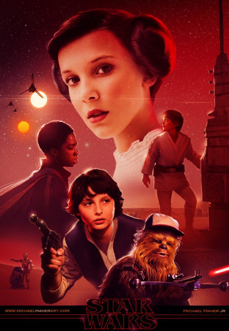 Resultado de imagem para stranger things poster star wars