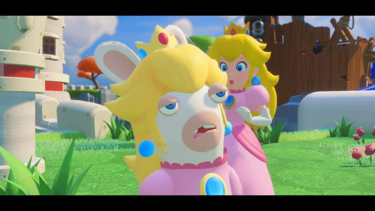 Rabbid Peach frequentemente rouba as cenas!