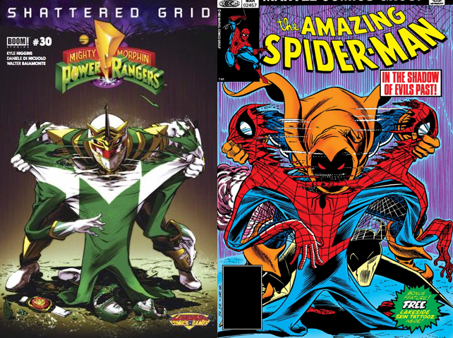 Capa alternativa de Power Rangers e Homem-Aranha lado a lado