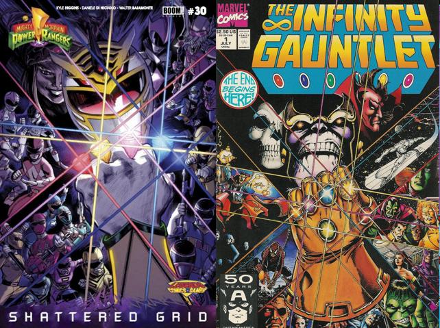 Capa alternativa de Power Rangers e Desafio Infinito lado a lado