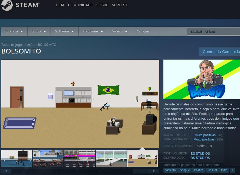 Página do jogo Bolsomito ainda está no ar no Steam