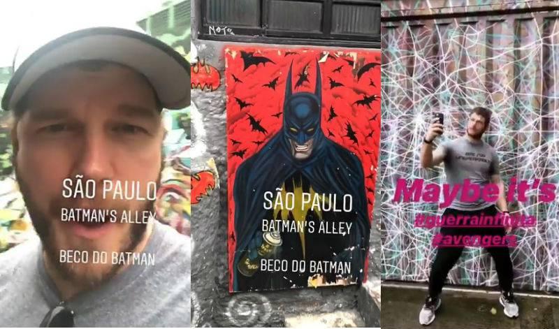 Chris Pratt no Beco do Batman -- ponto turístico de São Paulo que ganhou o nome por conta de um grafitti do herói