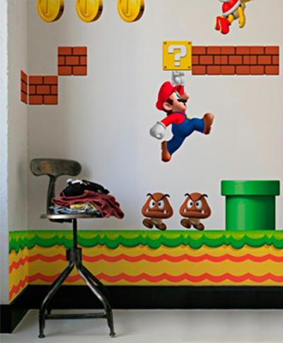 Jovem nerd decore seu quarto usando o mario for Como pegar papel mural